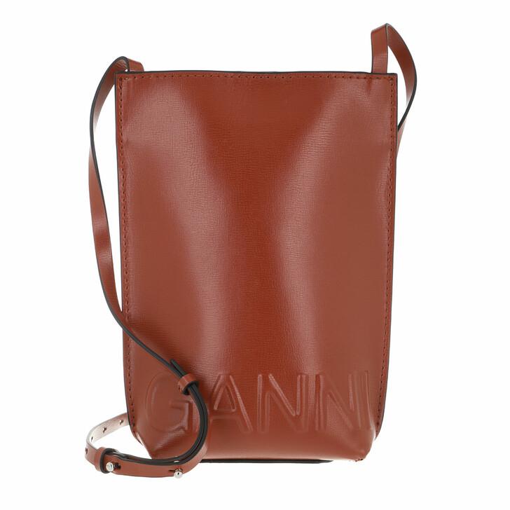 bags, GANNI, Small Crossbody Bag Solid Madder Brown