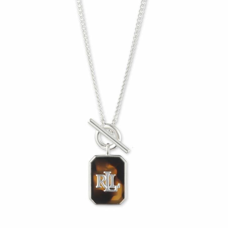 """necklaces, Lauren Ralph Lauren, Necklace 17"""" Tort LRL Tggl Pendant/Tort Silver"""