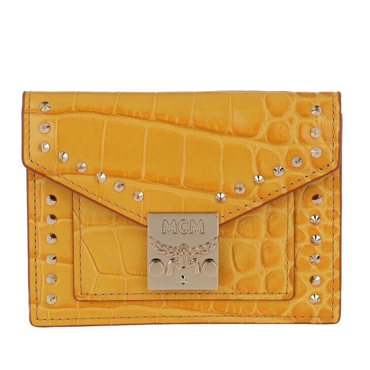 Geldbörse, MCM, Croco Mini Wallet Golden Mango