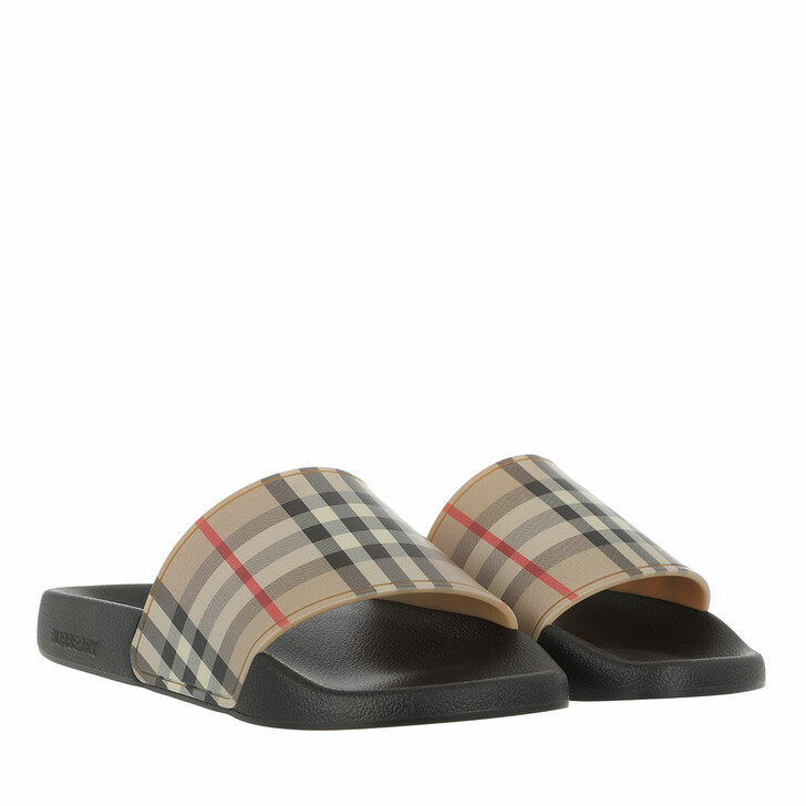 Schuh, Burberry, Vintage Check Printed Sliders Archive Beige