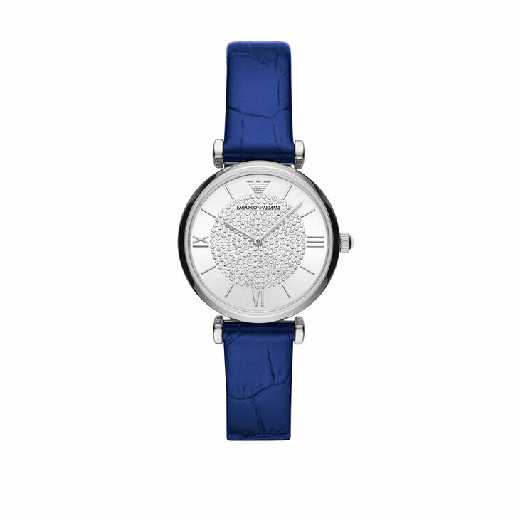 Uhr, Emporio Armani, Ladies Two-Hand Leather Watch Blue