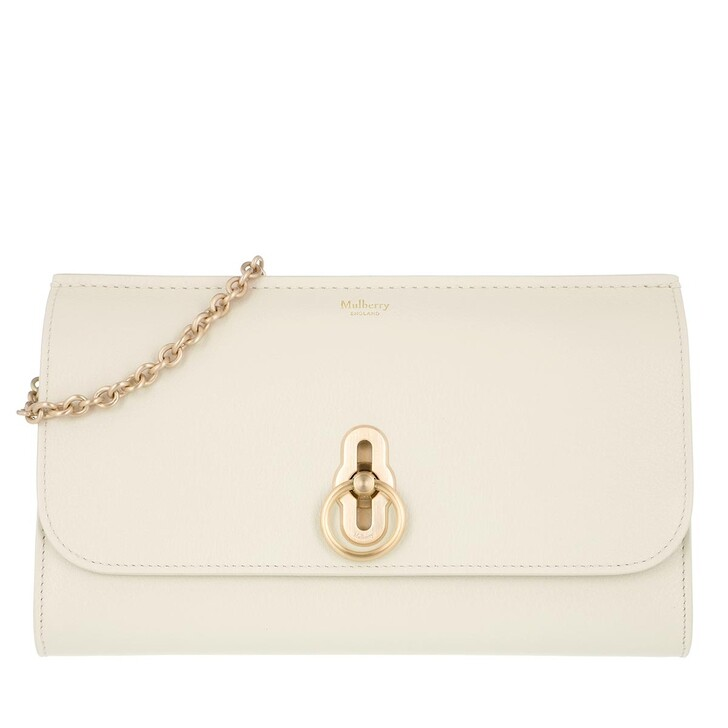 bags, Mulberry, Amberley Clutch Leather Chalk