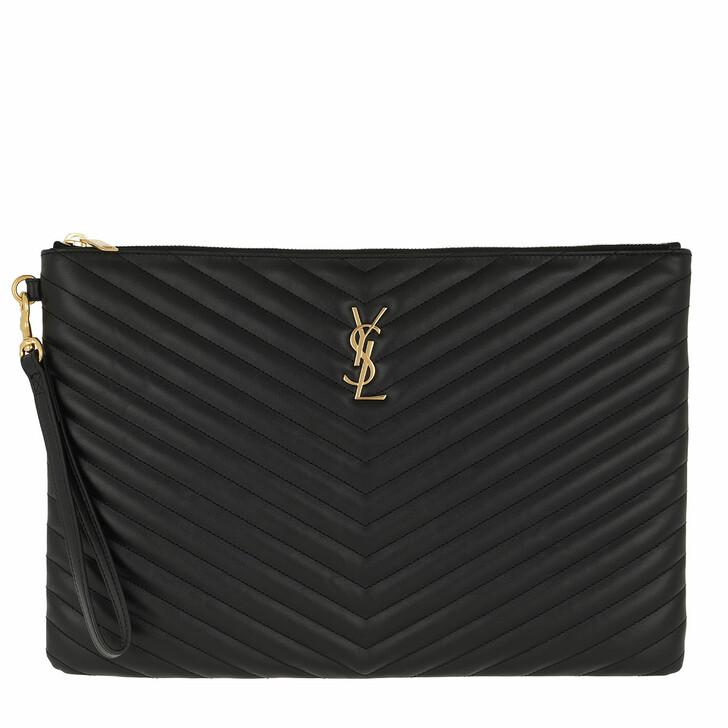 Handtasche, Saint Laurent, Monogramme Matelassé Clutch Quilted Leather Black