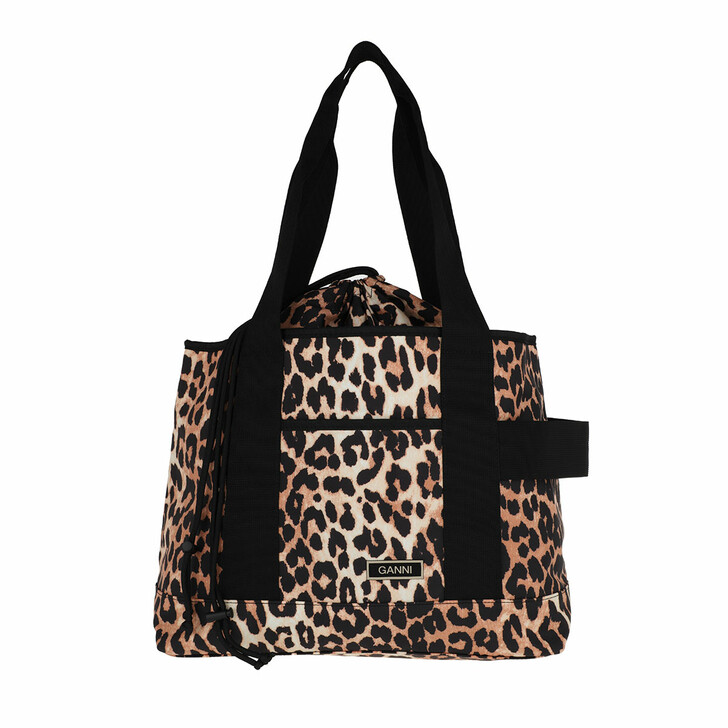 Handtasche, GANNI, Tote Bag Recycled Tech Fabric  Leopard