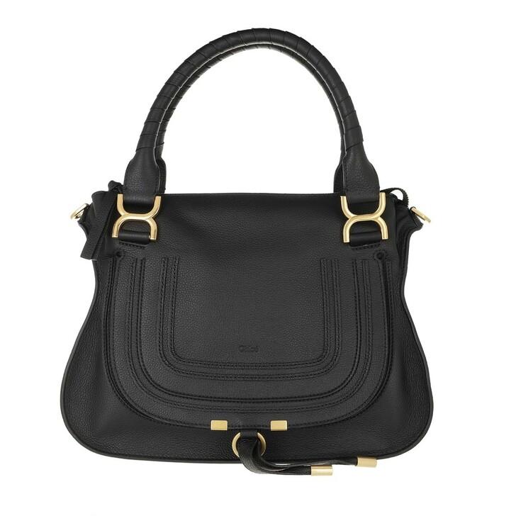 bags, Chloé, Marcie Handbag Grained Calfskin Leather Black