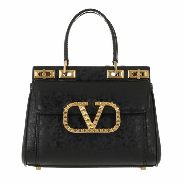 bags, Valentino Garavani, Mini Double Handle Bag Black