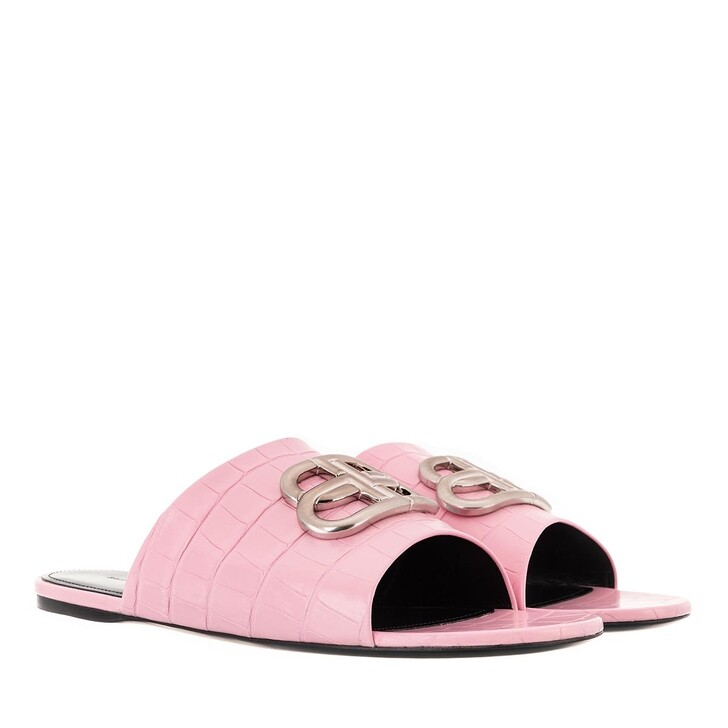 Schuh, Balenciaga, Oval BB Slide Sandals Light Pink/Nikel