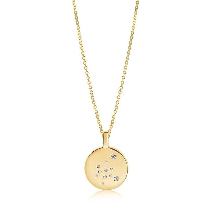 Kette, Sif Jakobs Jewellery, Zodiaco Aquarius Pendant White Zirconia 18K Gold Plated