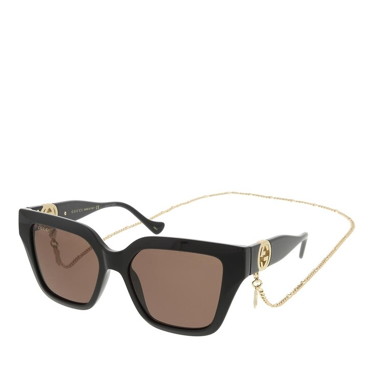 sunglasses, Gucci, GG1023S-005 54 Sunglass Woman Injection Black-Black-Brown