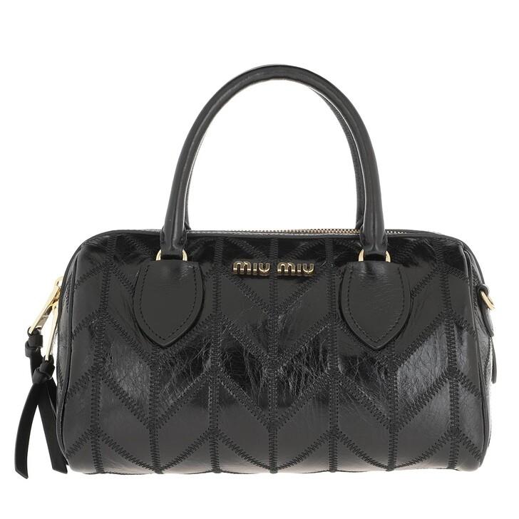 Handtasche, Miu Miu, Boston Patchwork Bowling Bag Leather Nero