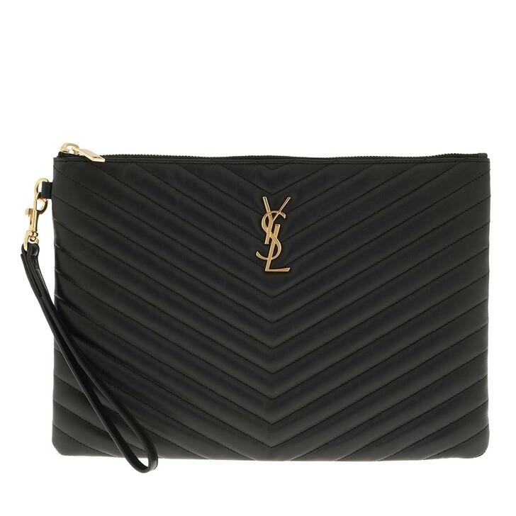 Handtasche, Saint Laurent, Monogram Pouch Quilted Leather Black