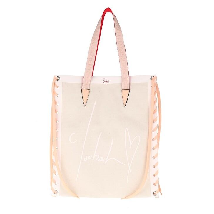 bags, Christian Louboutin, Small Cabalace Shopping Tote Bag Natural/Rose