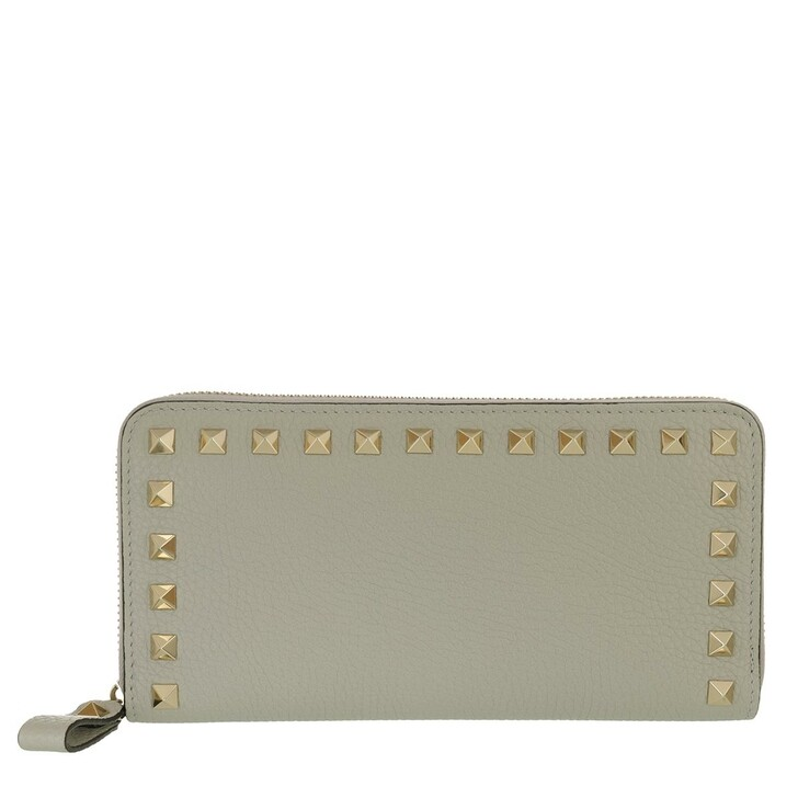 Geldbörse, Valentino, Rockstud Wallet Leather Opal Grey