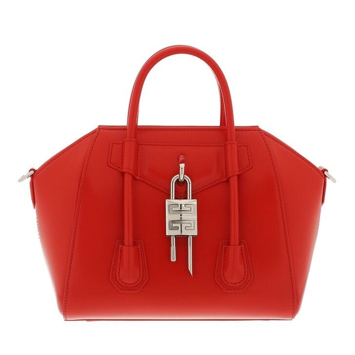 bags, Givenchy, Mini Antigona Lock Handle Bag In Box Leather Red