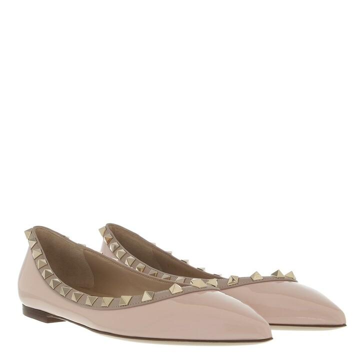 shoes, Valentino Garavani, Rockstud Ballerina Poudre