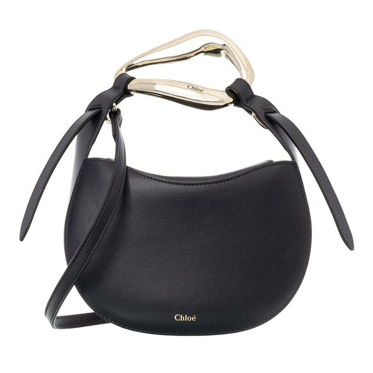 Handtasche, Chloé, Small Kiss Shoulder Bag Grained Leather Full Blue