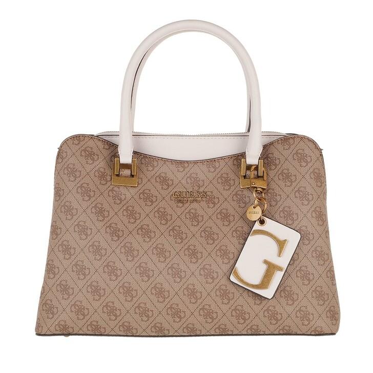 Handtasche, Guess, Mika Girlfriend Satchel Bag Brown