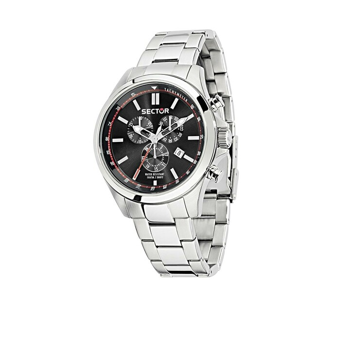 watches, Sector, 180 Chr Black Dial Bracelet Silver
