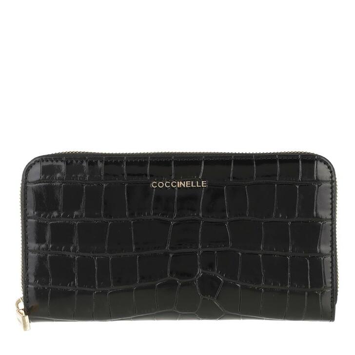 Geldbörse, Coccinelle, Metallic Croco Shiny Soft Wallet Noir