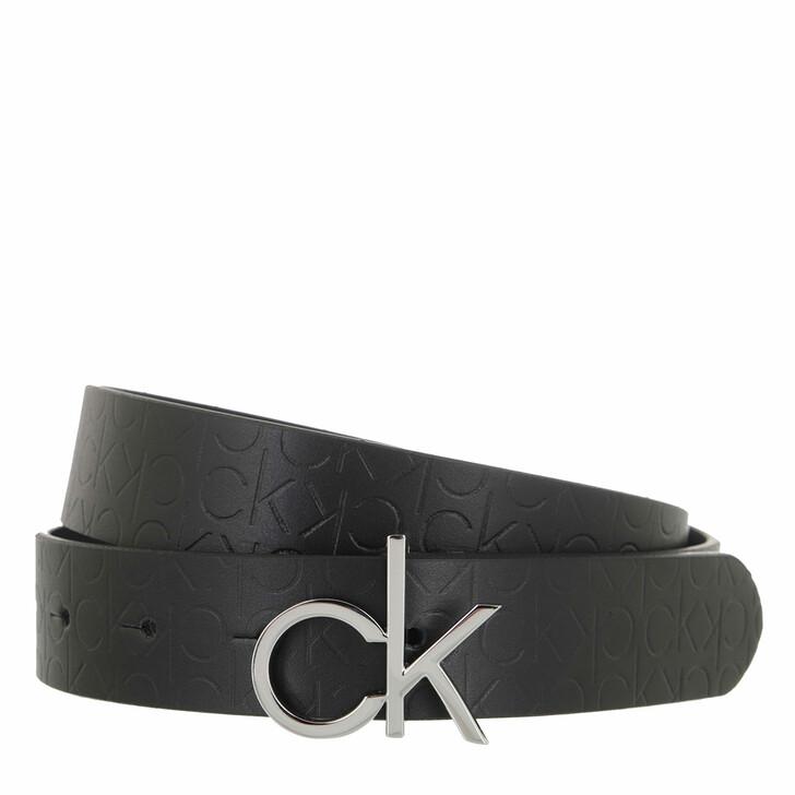 belts, Calvin Klein, Re-Lock Belt 30mm Embossed CK Black