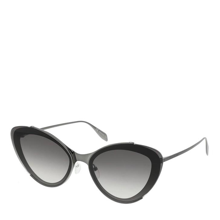 Sonnenbrille, Alexander McQueen, AM0251S-001 66 Sunglasses Ruthenium-Ruthenium-Grey