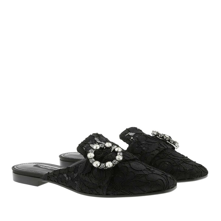 Schuh, Dolce&Gabbana, Lace With Jewel Buckle Slippers Black