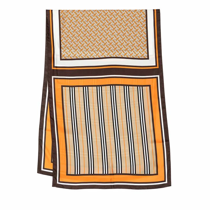 Schal, Burberry, Monogram Icon Stripe Check Print Silk Scarf Bright Orange