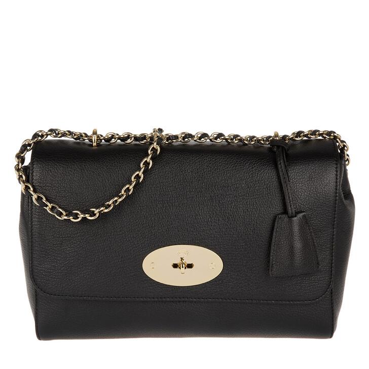 Handtasche, Mulberry, Lily Medium Glossy Goat Crossbody Bag Black