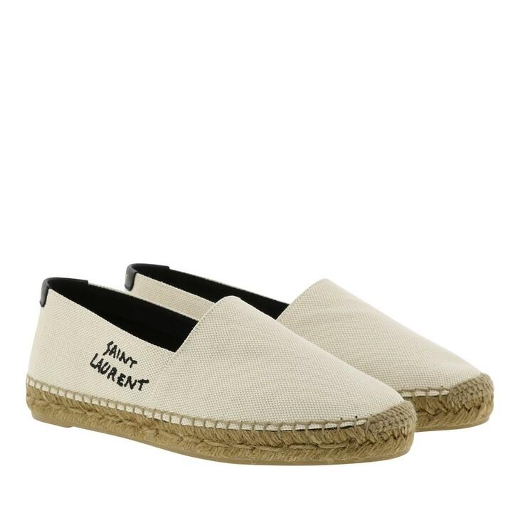 shoes, Saint Laurent, Embroidered Espadrilles Canvas Natural Beige