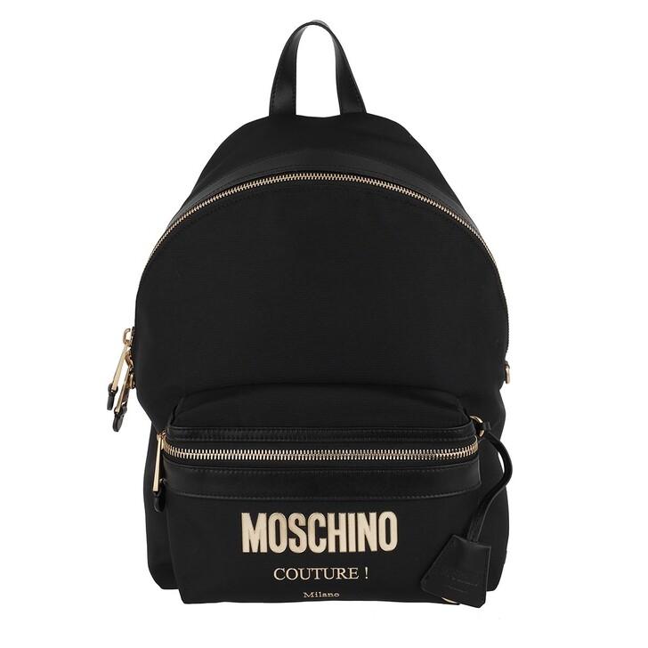 Reisetasche, Moschino, Logo Backpack Fantasia Nero