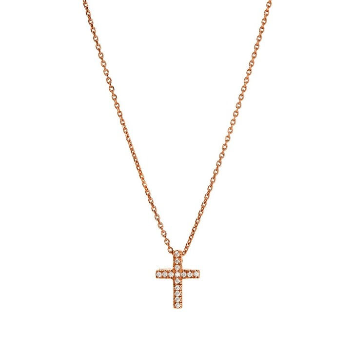Kette, BELORO, Necklace Cross Zirconia Rose Gold