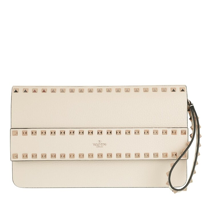 Handtasche, Valentino, Rockstud Clutch Leather Light Ivory