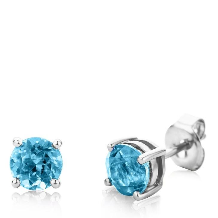 Ohrring, DIAMADA, 14KT Blue Topaz Earring White Gold