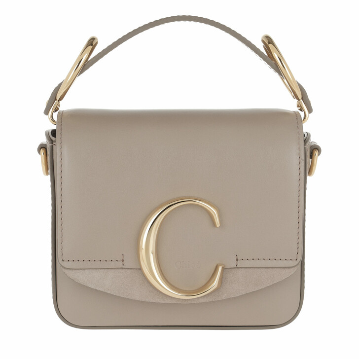 Handtasche, Chloé, C Bag Mini Leather Motty Grey