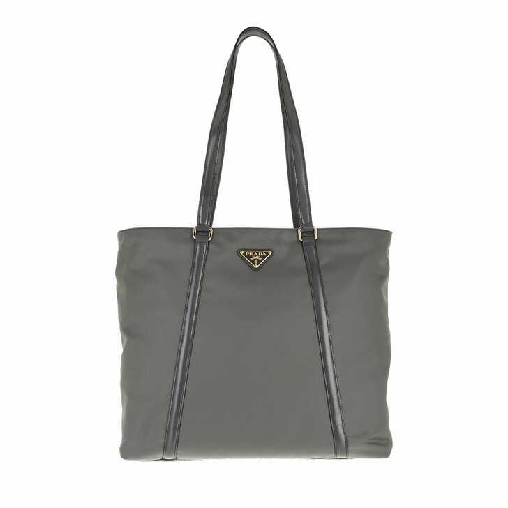 bags, Prada, Shopping Bag Leather and Nylon Slate Grey