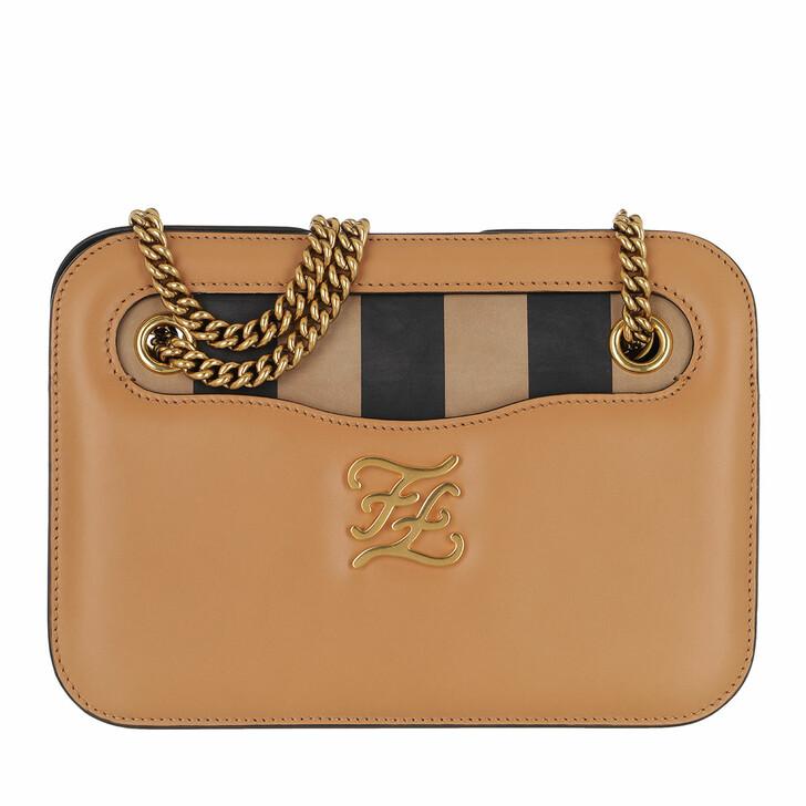 bags, Fendi, Karligraphy Pocket Shoulder Bag Calf Biscuit/Tabacco/Moro