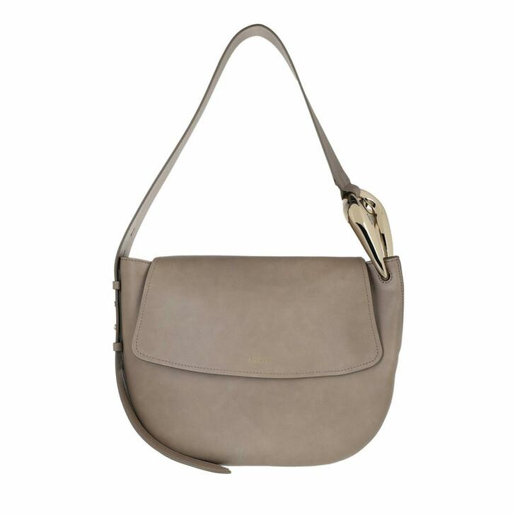 bags, Chloé, Small Kiss Hobo Handbag Grain Shiny Calfskin Motty Grey