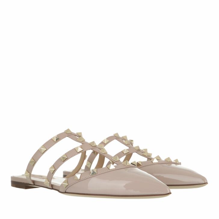 shoes, Valentino Garavani, Rockstud Mules Patent Leather Powder