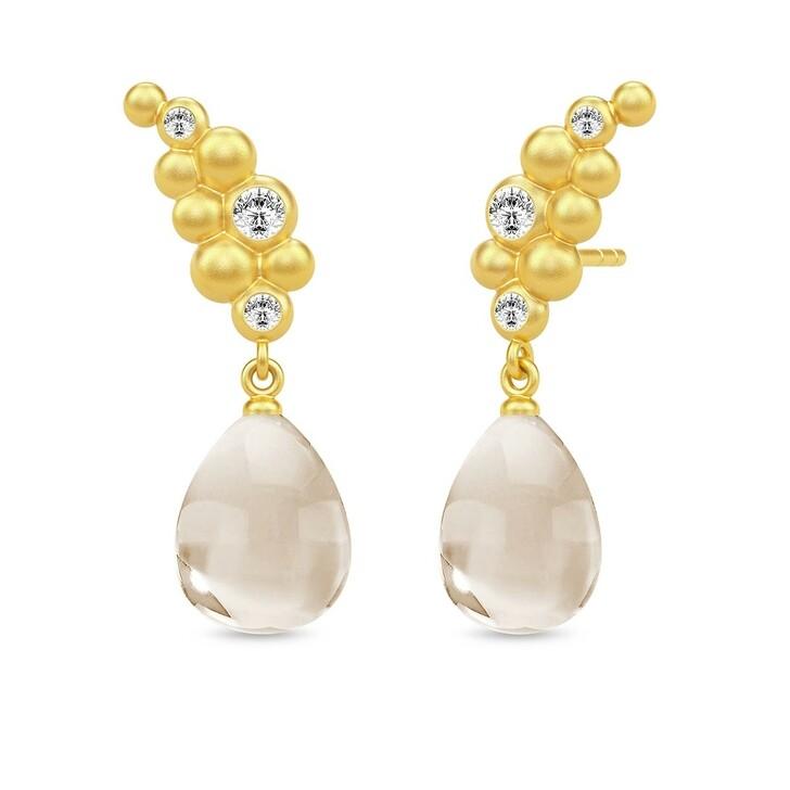 Ohrring, Julie Sandlau, Bloom Droplet Earrings Gold/Nude Crystal