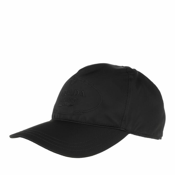 hats, Prada, Logo Baseball Cap Nylon Black