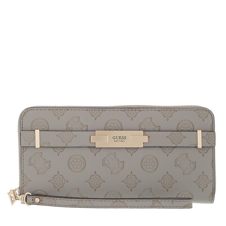 wallets, Guess, Bea Slg Large Zip Around Taupe