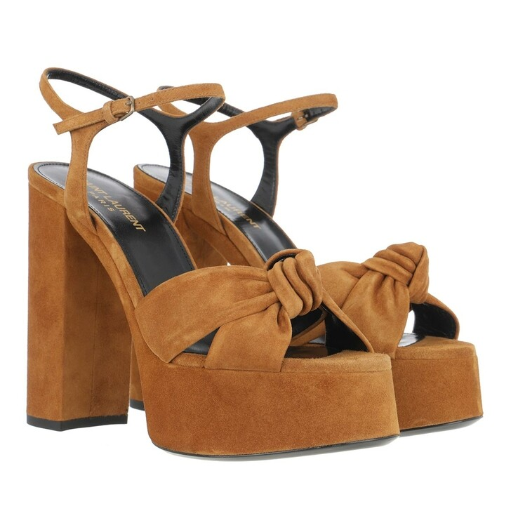 Schuh, Saint Laurent, Bianca Sandals Suede Beige