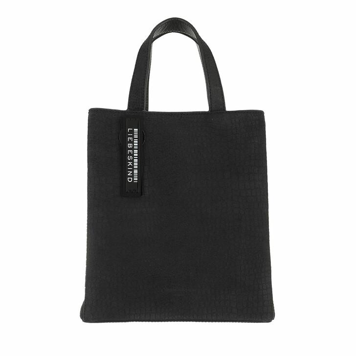 Handtasche, Liebeskind Berlin, Paper Bag Petit Suede Paper Bag S Black