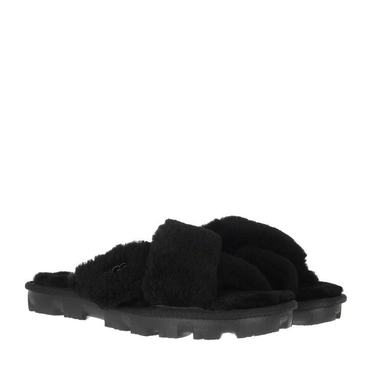 Schuh, UGG, Fuzzette Slipper Black