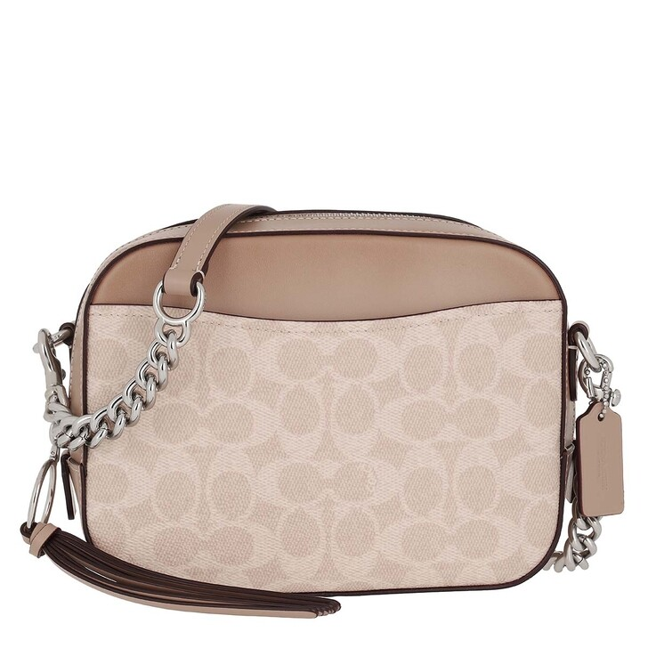 Handtasche, Coach, Coated Canvas Signature Camera Bag Sand Taupe