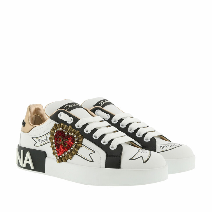 Schuh, Dolce&Gabbana, Portofino Sneakers Designer Patches Leather White/Multi