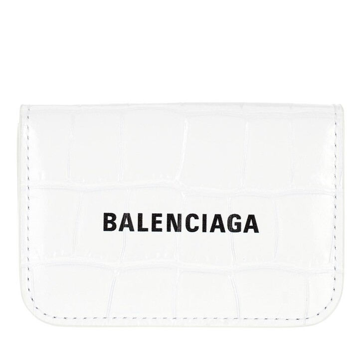 Geldbörse, Balenciaga, Mini Logo Cash Wallet Leather White/Black