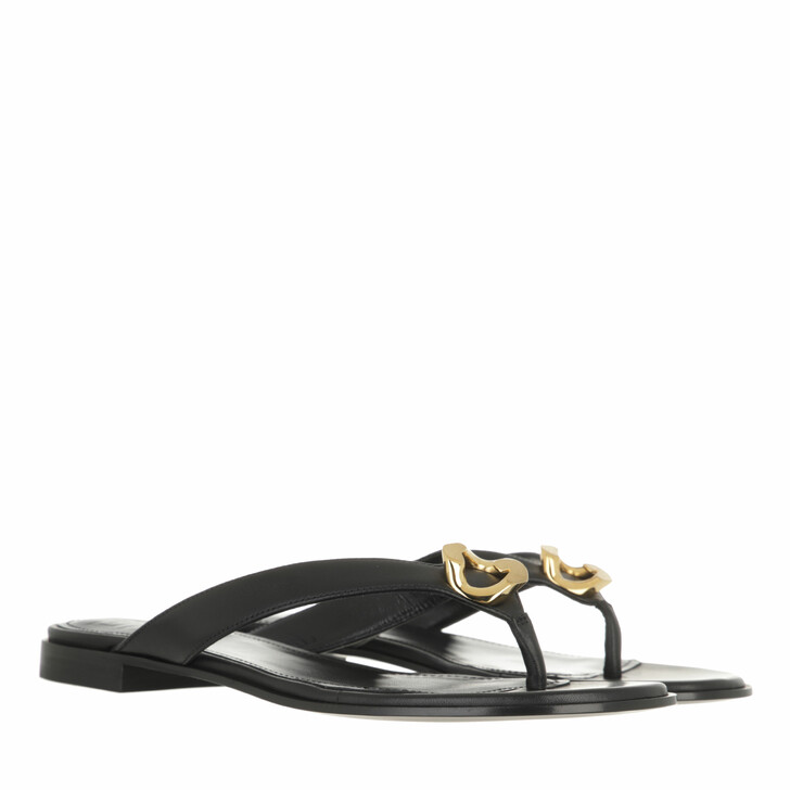 shoes, Givenchy, G Chain Buckle Sandals Leather Black