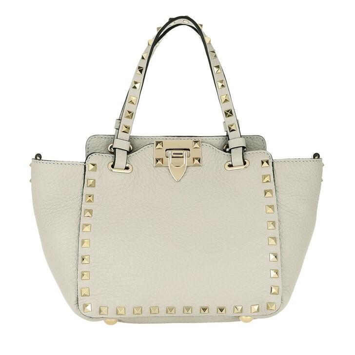 Handtasche, Valentino, Mini Rockstud Tote Bag Opal Grey