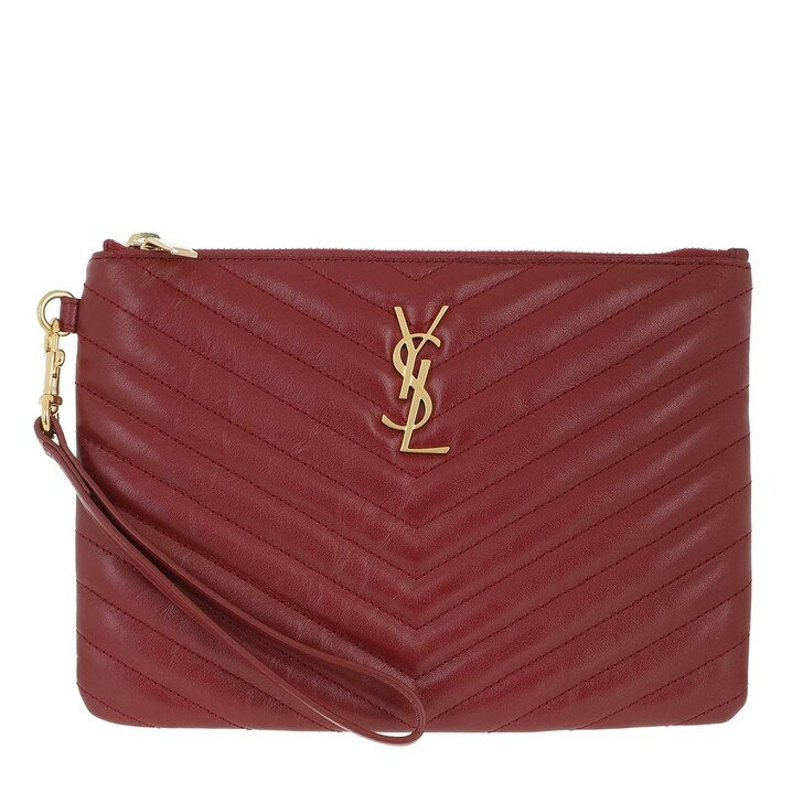 Handtasche, Saint Laurent, YSL Case Monogramme Clutch Jolie Gris Opyum Red